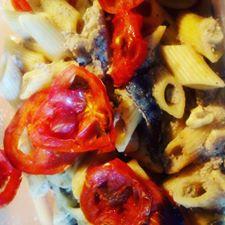 pasta-tofu-melanzane-pomodorini-arachidi